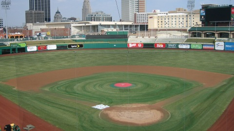 Parkview Field looks much greener after an application of turf dye.